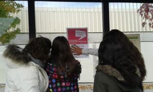 Un grup penjant el pòster de la donació de sang.